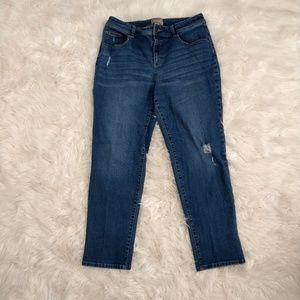 Chico's Distressed Ankle Denim Jeans Size 1